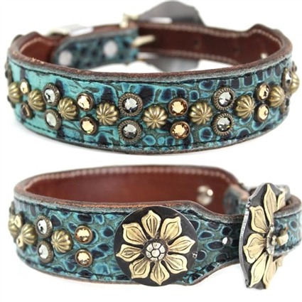 Turquoise Western Leather Dog Collar Remi
